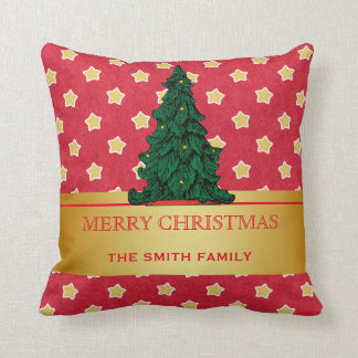 Merry Christmas Tree Gold Glitter Star Throw Cushions