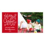 Merry Christmas Whimsical Calligraphy Swirl Photo Photo Card