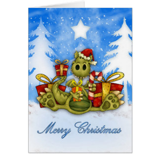 Merry Christmas With Cute Dragon Eating Candy Cane Greeting Card