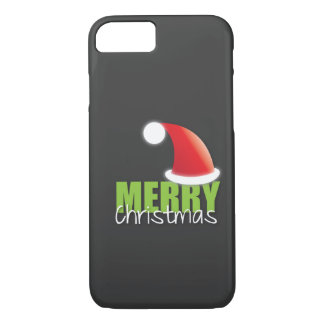 MERRY Christmas with cute santa hat iPhone 7 Case