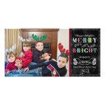Merry n Bright Holidays Modern Photo Christmas Custom Photo Card