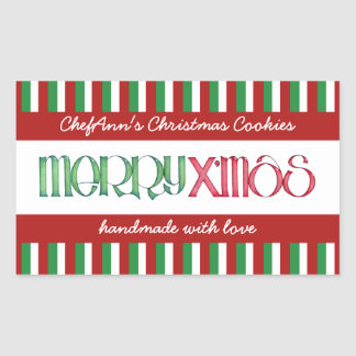 Merry X'mas green Kitchen Jar Rectangle Label Rectangular Sticker