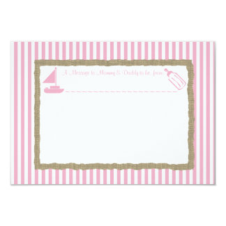 Message in A Bottle Sail boat Baby Shower Pink 9 Cm X 13 Cm Invitation Card