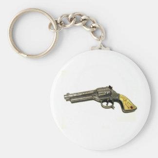 Metal Toy Gun Basic Round Button Key Ring