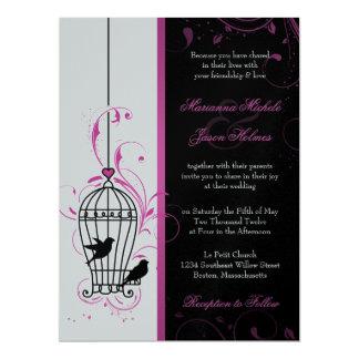 Metallic Pink & Black Swirly Bird Cage Wedding 17 Cm X 22 Cm Invitation Card