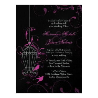 Metallic Pink & Black Swirly Birdcage Wedding 17 Cm X 22 Cm Invitation Card