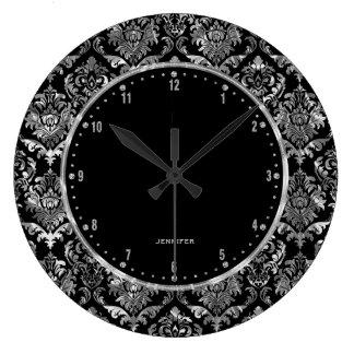 Metallic Silver & Black Vintage Floral Damasks 2 Clock