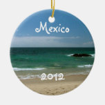 Mexican Beach Vista; Mexico Souvenir Round Ceramic Decoration