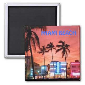 Miami Beach, Florida Square Magnet