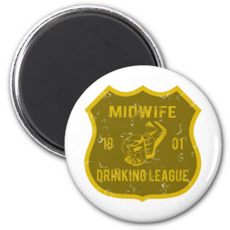 Midwife Drinking League 6 Cm Round Magnet
