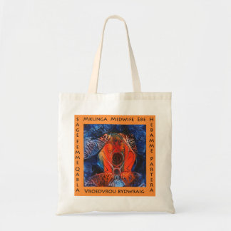 Midwife in many languages budget tote bag