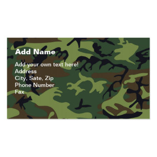 Military Green Camouflage Pack Of Standard Business Cards