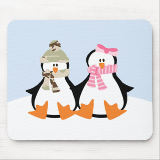 Military Penguin Couple Mouse Pad