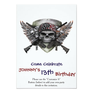 Military Skull With Crossed Gun Special Warfare 13 Cm X 18 Cm Invitation Card