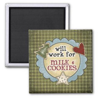 Milk, Cookies, Work Fun Christmas Magnet