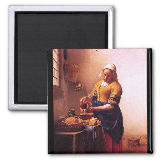Milk maid by Johannes Vermeer Square Magnet
