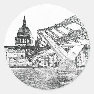 Millennium Bridge and St Paul's Round Sticker