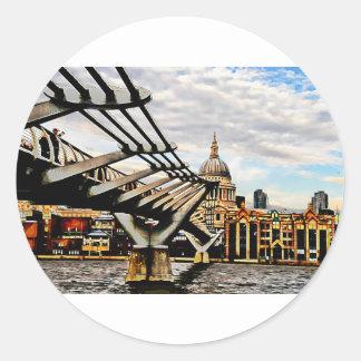 Millennium Bridge - London. Round Sticker