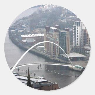 Millennium Bridge Newcastle upon Tyne Round Sticker