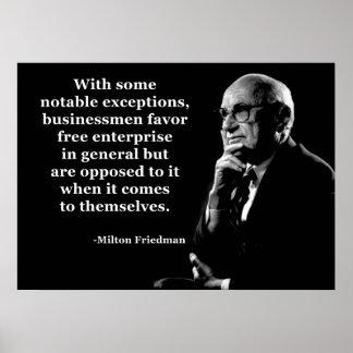 Milton Friedman Crony Capitalism Poster