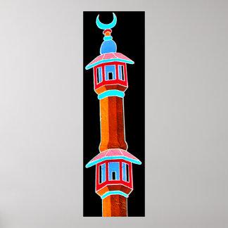 Minaret Stylised Illustration, Multi-Coloured Poster