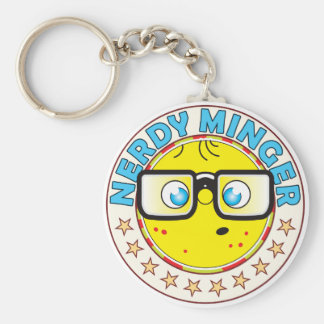 Minger Nerdy Basic Round Button Key Ring