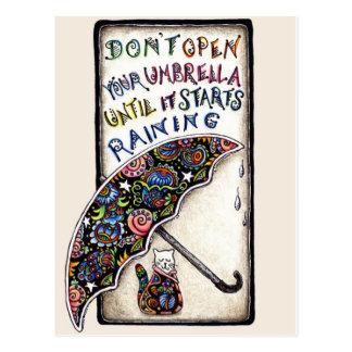 Mini Art Cat Umbrella Quote Postcard