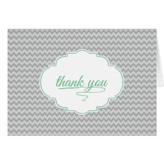 Mini Chevron in Baby Green Thank You Card