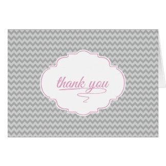 Mini Chevron in Baby Pink Thank You Card