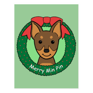 Miniature Pinscher Christmas Postcard