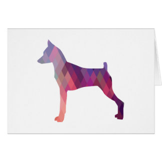 Miniature Pinscher Geometric pattern silhouette Greeting Card