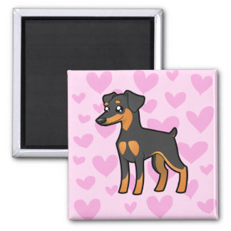Miniature Pinscher / Manchester Terrier Love Square Magnet