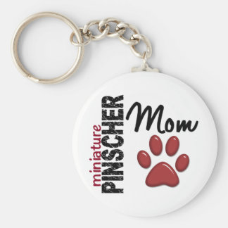 Miniature Pinscher Mom 2 Basic Round Button Key Ring