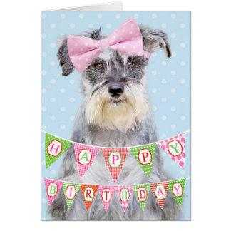 Miniature Schnauzer Wearing Pink Polka Dot Bow Greeting Card