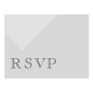 Minimal Asymmetrical Basic Gray RSVP Postcard