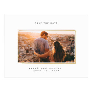 Minimal Lines Save the Date Photo Postcards