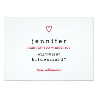 Minimal Modern Heart | Will You Be My Bridesmaid 13 Cm X 18 Cm Invitation Card