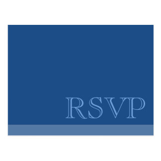 Minimal Simple Basic Blue RSVP Postcard