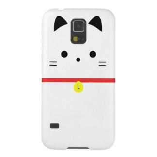 Minimalist White Cat with Monogram Galaxy S5 Cases