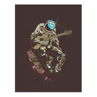 Minimalistic Astronaut Playing a Guitar Postcard
