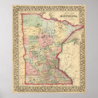 Minnesota Map by Mitchell Poster