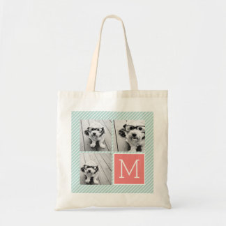 Mint and Coral Photo Collage Custom Monogram Budget Tote Bag