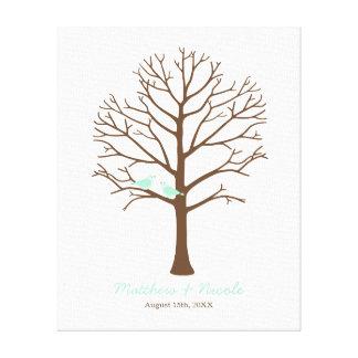 Mint Birds Brown Fingerprint Tree Wedding Gallery Wrapped Canvas