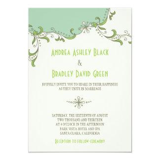 Mint Green Ivory Floral Garland Wedding Invitation