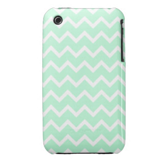 Mint Green Zigzag Chevron Stripes. iPhone 3 Cover