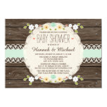 MINT RUSTIC FLORAL BOHO COUPLES BABY SHOWER INVITE