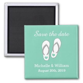 Mint Save the date beach slipper wedding magnets