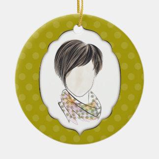 Miranda - portrait of a woman round ceramic decoration