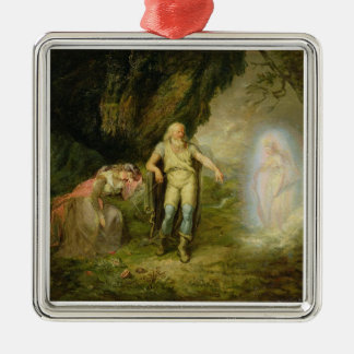 Miranda, Prospero and Ariel, from 'The Tempest' by Silver-Colored Square Decoration