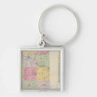 Mitchell County, Cawker City, Simpson, Kansas Silver-Colored Square Key Ring